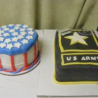 Army Logo & Flag Cake Army logo with Dog tags. half vanilla & half choco. cake, BC icing. Gumpaste dog tags. MMF star, trim, & US ARMY print. Flag cake...