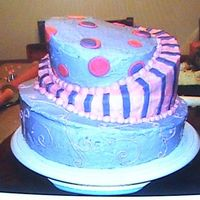 Whimsical Cake Pink and purple whimsical cake with bc and fondant. This is our first cake before starting wilton class 1.