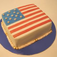 "Flag Cake Fondant with fondant accents. My interpretation of the first official American flag. Two 8"" squares stacked and trimmed to 8"" x 6..."