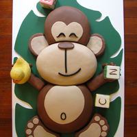 "Monkey Baby For a jungle/monkey themed baby shower. Inspired by cake made by The London Cake Co Ltd. This is quite large. 2' wide by 3"" long..."
