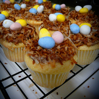 Nest Cupcakes toasted coconut nest with chocolate egg eggs