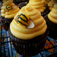 Bee Hive Cupcakes buttercream beehive with jelly bean bees with almond sliver wings