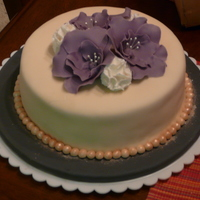 Fantasy Flower Cake fondant covered cake with fondant fantasy flowers and carnations