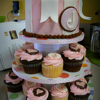 "Baby Shower Cake And Cupcakes I finally got to make a baby shower cake for a girl! :) 6"" round on the top with pink buttercream and ivory fondant bow. Cupcakes are..."