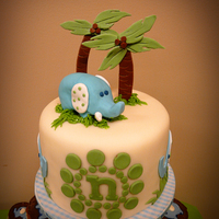"Baby Elephant Cake I did a 6"" cake with cupcake tiers for a baby shower for a mommy expecting a little boy. Her nursery theme has elephants, so I made..."