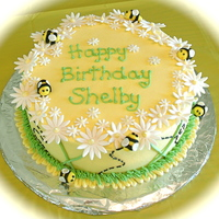 "Shelby's Bee Cake Chocolate WASC with chocolate ganache filling. Buttercream with fondant accents. Thank you ""GWU90"" for the inspiration!"