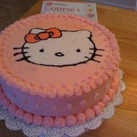 Hello Kitty   This is my Hello Kitty I made using buttercream transfer technique...I love this kitten....it was my second cake!