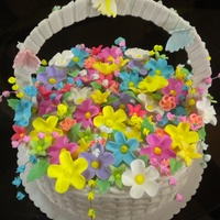 Basket Of Flowers Cake  Basket weave is handmade and hang-woven out of fondant. Flowers are sugar flowers and butterflies are made out of gum paste. Thanks for...