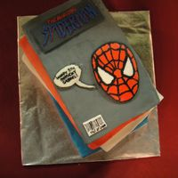 The Amazing Spider-Man Each 'stack' was one layer of cake covered in vanilla butter cream, then fondant. (Two white, two chocolate.) I used a pasta...