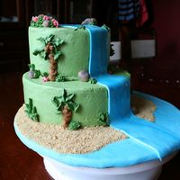 "Img_2310.jpg I made this cake for a charity auction. The event's theme was ""Island Paradise"" Yellow cake with vanilla buttercream, rolled..."