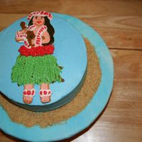 Hula Girl I copied the graphic from an evite using frozen butter cream transfer. Vanilla cake with pineapple filling and vanilla butter cream.