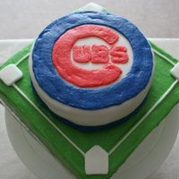 "Cubs Cake Birthday cake for a Chicago Cubs Fan. 6"" round, 1 layer torted. Cherry Vanilla cake with Vanilla BC covered in fondant. Logo..."