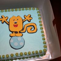 "Wow Wow Wubbzy 8"" square, 2 layers white cake with strawberry filling and vanilla buttercream. The client requested a Wubbzy theme including the &#..."