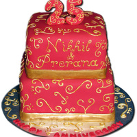 The Nikana Red and Gold Anniversary Cake