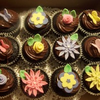 Cupcakes chocolate fudgy espresso/orange cupcakes with chocolate ganache and gumpaste flowers and butterflies