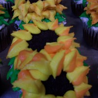 Sunflower Cupcakes Chocolate cupcakes for a bridal shower gift.
