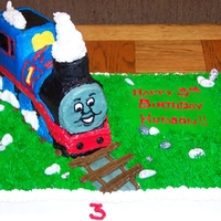 Thomas The Train   Chocolate and vanilla cake with butter cream icing.
