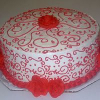 Red And White I am really just practicing scrolls. I want to find my own style, I think I like my last cake better. This is a lemon pound cake with...