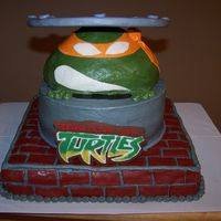 Teenage Mutant Ninja Turtle the bottom layer is cake, the sewer drain is cake, turtle head is Rice Crispy Treats, and the manhole cover is fondant-covered cardboard....