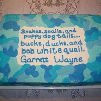 Blue Cammo Babyshower Cake Baby shower with a hunting theme invitation, but the color scheme of the actual party was shades of blue. Chocolate and vanilla cake with...