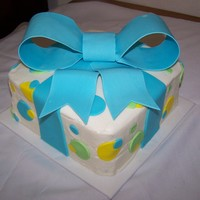 Big Blue Bow! Baby shower cake for a friend having a baby boy! Had a few problems with the bow, but it turned out ok! Vanilla cake, chocolate ganache...