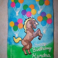 Horses And Balloons FBCT horse, fondant balloons, buttercream frosting for a little girls 8th birthday. TFL