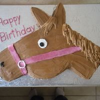Horse Cake Shaped Horse cake for a Horse Loving client, it was a hit! All BC icing, and chocolate cake.
