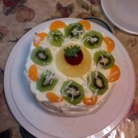 Fresh Fruit Cake This is a butter cake with fresh fruit inside and top. with whipped cream frosting and coconut. Thank you evelynpr for you help, I could...