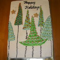 Christmas Card Cake Another cake designed from a christmas card. This one was fun because the trees were a simple design. All buttercream.