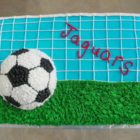 Soccer Goal   Cake made for my son's middle school soccer team.