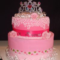 Pink Princess Cake my daughter's 2nd birthday cake. She's all pink and princess all the time