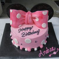 Minnie Mouse Cake I did this for my friends mom...she went to Disneyland for her birthday and came home to a minnie cake...it was fun!
