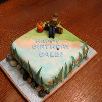 Fishing Cake Black forest cake, chocolate ganache, fondant.