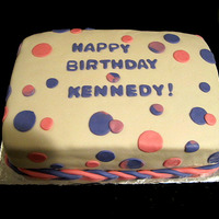 Birthday Polka Dots Chocolate cake with raspberry cream filling. Covered in fondant, with fondant decorations.
