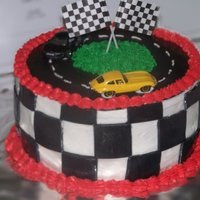 Race Track Made this for a friend's sons& Husband's birthday..... Dad loved it as much as the kids!!BC with MMF accents hotwheels on top...