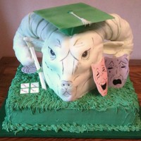 Ram Head Graduation Cake 12x18 cake supporting the Ram. The head is all cake & the horns are cereal treat covered in royal icing to harden them. The horns are...