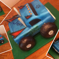 Monster Truck Cake This was for a 5th birthday. I wasn't happy with the original cake tires, so I went & bought blueberry bagels & wrapped in...