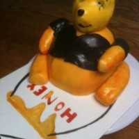 Goth Pooh Bear For a Sweet 16 bday. The body is cake & the arms, legs & head are rkt.