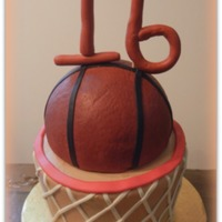 "Basketball 16Th Birthday Red Velvet with cream cheese icing carved into shape of a basketball goal (2 six inch and 1 7 inch cake). Fondant ""net"" and &quot..."