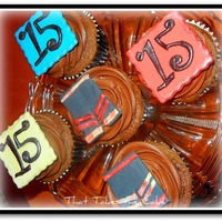Teenage Boy Birthday Cupcakes Cappuccino cupcakes with custom gumpaste toppers for a 15 year old teenage boy. He is having a swim party so I made custom topper...