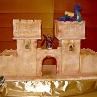 "Castle And Dragon I made this cake for a medieval wedding. The cake was huge, the dimensions were 40""x24"" and 20"" high. It was almost 100%..."