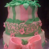 Two Peas And A Pod THREE TIERS CAKE, MARBLE CAKES, BUTTERCREAM FILLING, GUM PASTE DECORATION.