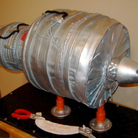 Aircaraft Engine Gm This cake was made for a aircraft engine director of GM. It was for his birthday, the cake was suspend it, like the real one. It was...