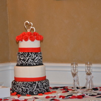 Red, White And Black Made this cake for my sisters wedding last weekend. I was so scared I would mess it up but it turned out ok. Wasn't perfect..but I...