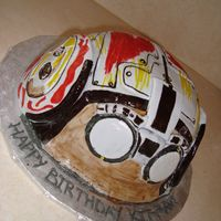 Pod Racer Helmet This is an Anakin Skwalker pod racer helmet cake. Very fun to do! Chocolate cake with chocolate mousse.