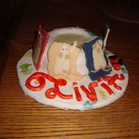 "Mouse Paint SO, this cake is based on a childrens book titled, ""Mouse Paint"", it's about 3 white mice who come across some paint and..."