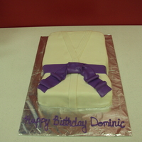 Karate Uniform Cake covered in marshmallow fondant.