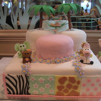 "Jungle Jill Baby Shower Cake  This baby shower cake was created around the nursery bedding. The base is a 16"" square cake (three layers), covered with fondant. The..."