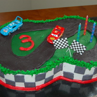 "Cars Birthday Cake 2, 10"" cakes, cut to fit together. All b/c and fondant accents. For my son's 3rd birthday. Got the idea from CC :)"