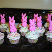 Bunny Peep Cupcakes   Cupcakes Frosted w/Buttercream Icing Topped with Marshmallow Bunny Peep